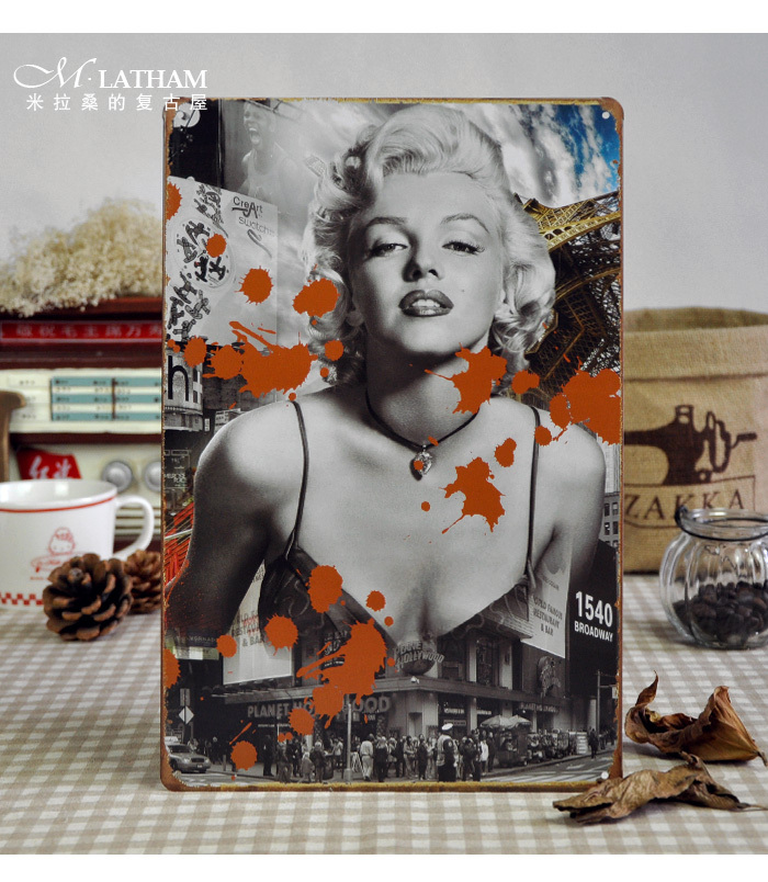 Timeless Marilyn Monroe creative retro metal painting poster tin signs art wall decor(China (Mainland))