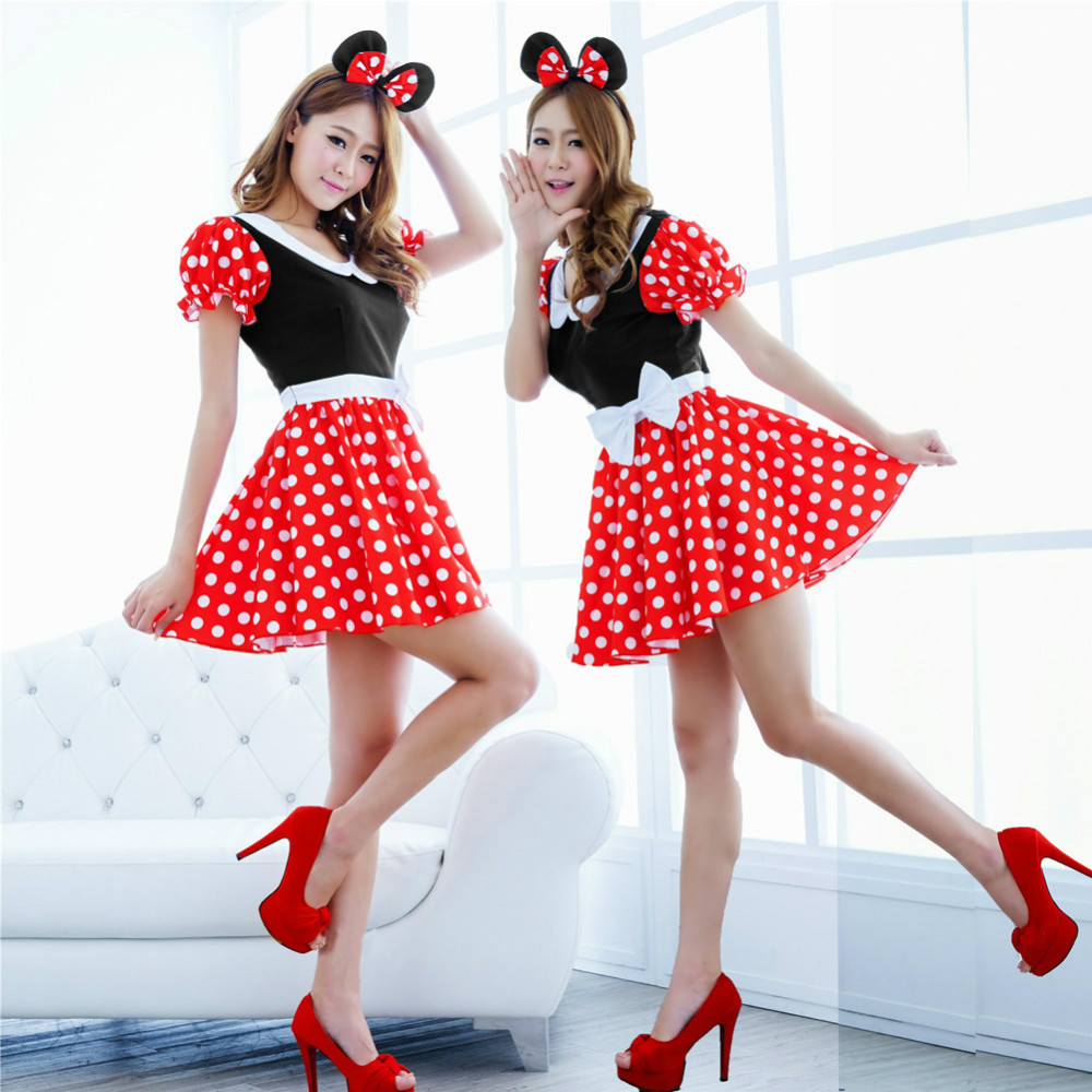2015 Cute Fashion Sexy Christmas Minnie Mouse Women Xmas Costume Cosplay Dress Up Outfit Ear ALOM(China (Mainland))