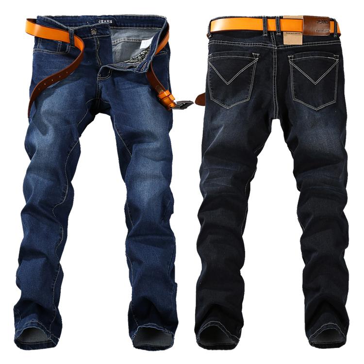 2015 summer style plus size 40 42 44 46 48 big men jeans straight fit denim  jean blue black baggy jeans for men nzk34 aefc977d9ef0