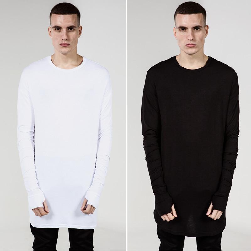 Extend Hip Hop T Shirt Men High Low Side Thumb Hole Split TShirt Long Sleeve Tyga Swag Man T-Shirt Crew Neck Clothes(China (Mainland))
