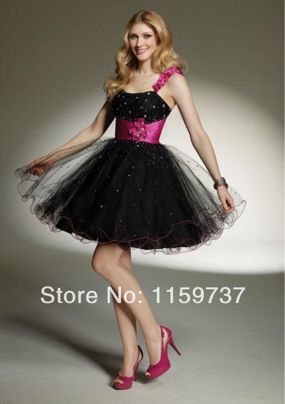 2014 Style Fashion Sweetheart Organza Black Cocktail Dress(China (Mainland))