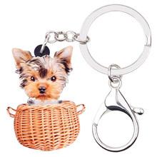 Cesta Do Cão Yorkshire Bonsny Acrílico Chaveiros Chaveiros Anéis Animal Bonito Presente Jóias Para As Mulheres Meninas Saco de Encantos Pingente De Carro(China)