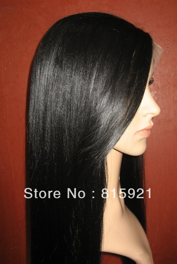 Гаджет  Factory Bottom Price  #1B 100% Top Quality Virgin Brazilian Hair Full Lace Wig Middle Parting Straight Hair Wig None Изготовление под заказ