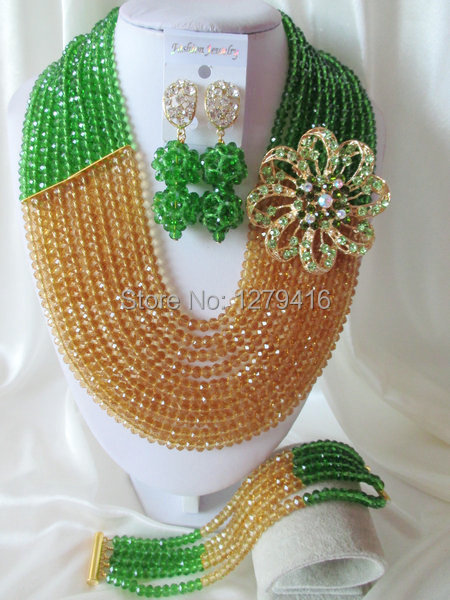 Fashion Nigerian African Wedding Beads Jewelry Set , Crystal Necklace Bracelet Earrings Set C0531<br><br>Aliexpress