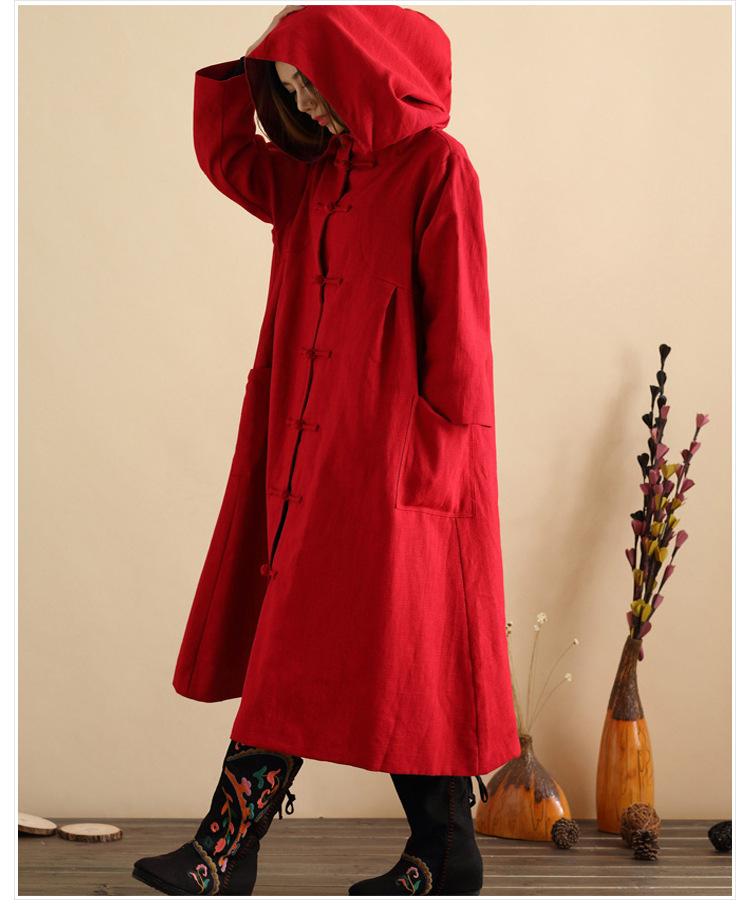 Скидки на Национальный Ветер Жаккардовые Парки Зимнее Пальто Женщин Плюс Размер Куртка Женская Этнический Стиль Вышивки Хлопка С Капюшоном Пальто