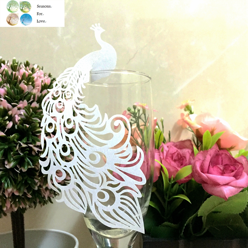 50pcs Peacock laser Paper Place Card Escort Cup Card glass wine charms wedding favors and gifts