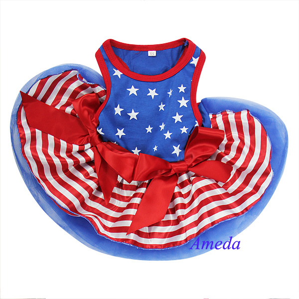 4th July Patriotic Blue Star Red Stripes Small Dog Pet Tutu Clothes Party dress XS-L(Hong Kong)