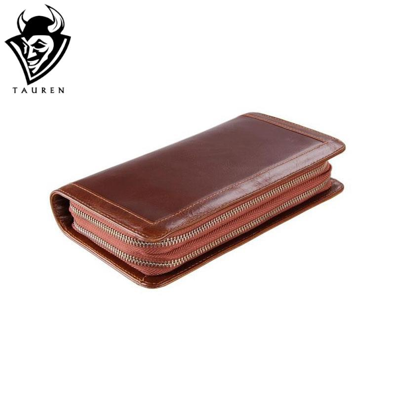 Free Shipping High Quality Brown Genuine Cow Leather Purses Wallets Clutch Bags Credit Card Holder Men's Vintage Wallet(China (Mainland))