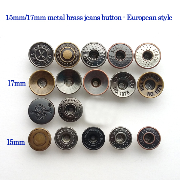 100sets 15mm/17mm metal brass jeans shank buttons European style jeans buttons mixed style free shipping JB-003(China (Mainland))