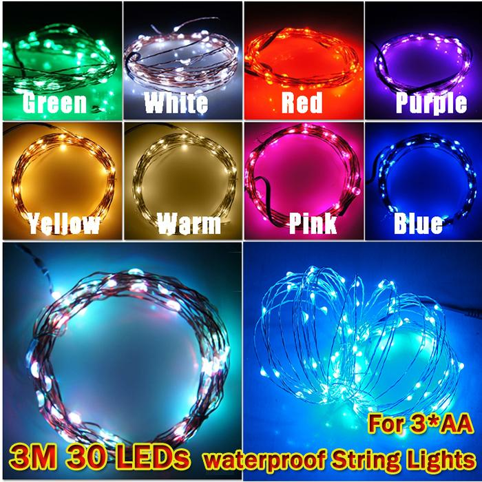 Гаджет  New 3M 30LEDs Battery power Mini LED Copper Wire String Fairy Sparkle Lights Party Xmas waterproof lights multicolor None Свет и освещение