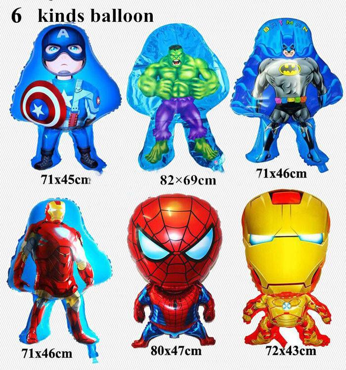 6pcs/lot The Avengers foil balloons super hero baby toys hulk Captain America superman batman Iron man spider-man helium balloon(China (Mainland))