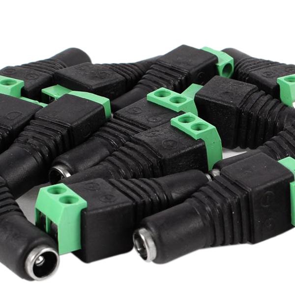 WSFS Hot 15 Pcs Black Green 5.5x2.1mm Female CCTV DC Power Connector Plug Adapters(China (Mainland))