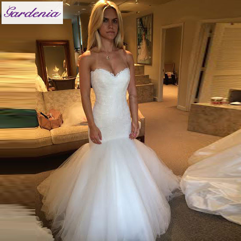 Modest Real Mermaid Wedding Dresses Lace Bridal Gown Tulle