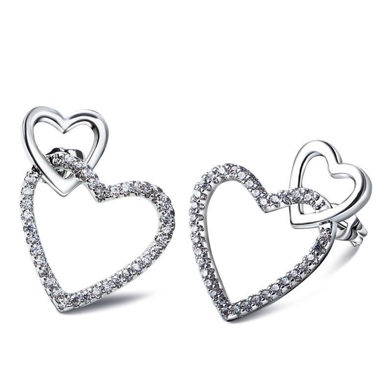 Sweet Look Women Elegant Heart Studs Earrings Platinum Plated AAA Cubic Zirconia Romantic Fashion Jewelry - ANGEL in store
