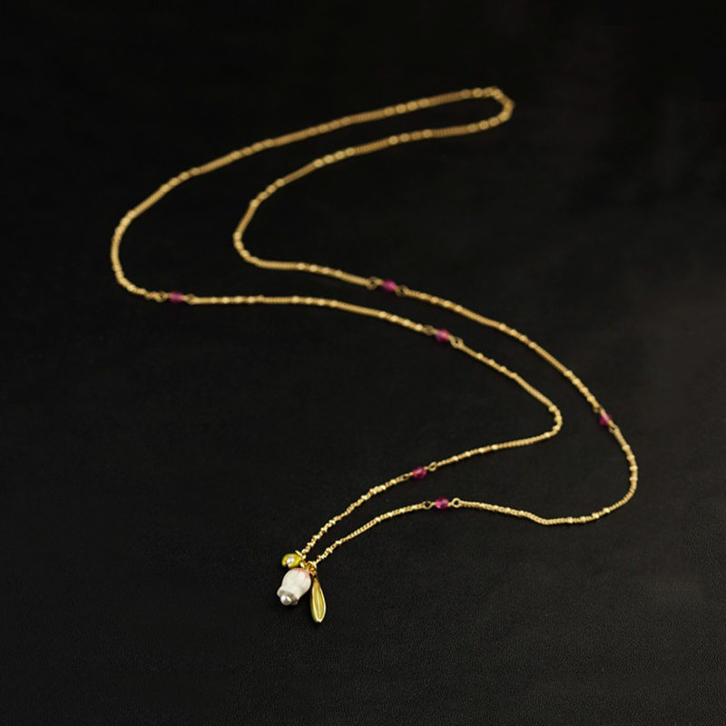 Bell Orchid Necklace For Women Elelgant Simple All-match 76cm Long Sweater Dress Necklace Brand Jewelry(China (Mainland))