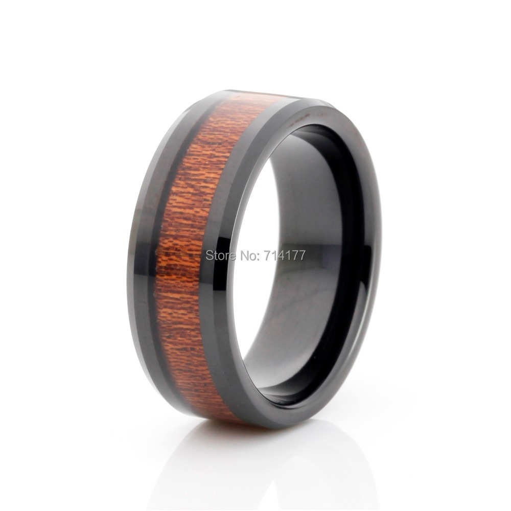 black tungsten carbide wedding band real wood inlay men 39 s jewelry ring