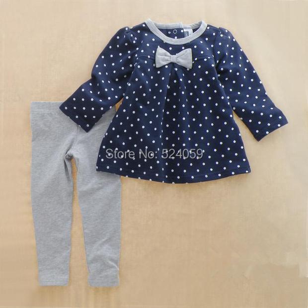 New cotton Toddlers children baby girls autumn spring 2 pcs clothing set suit Pattern baby shirt + pants sets(China (Mainland))