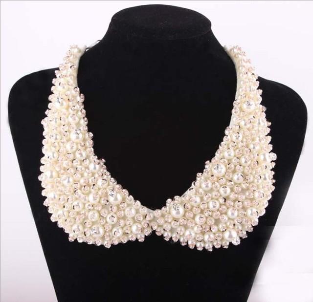 Collares de perlas de imitación falsa de la cadena collar retro moda collar de cristal de