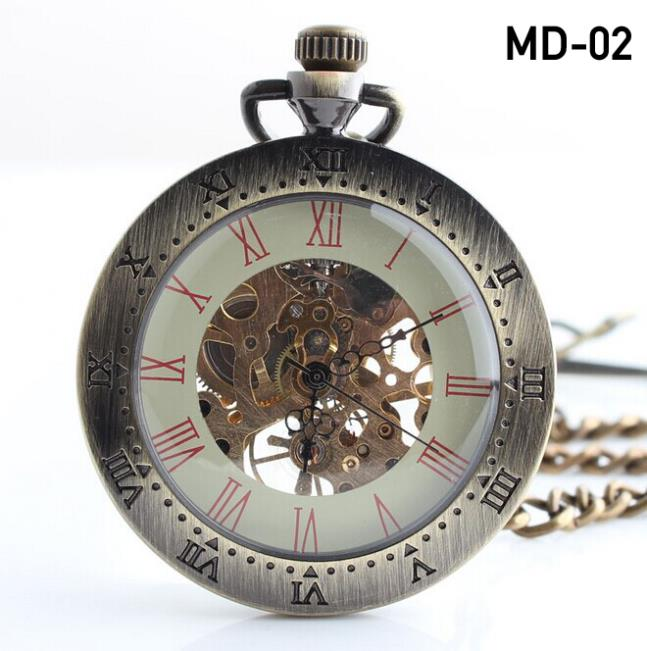 Vintage Noble Bronze Skeleton Mechanical Pocket Watch Steampunk Hollow Eagel mechanical pocket DROP SHIPPING