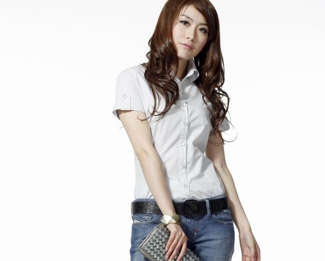 2013 plus size summer slim 100% cotton shirt short-sleeve Women professional women outerwear - bingwen chen's store