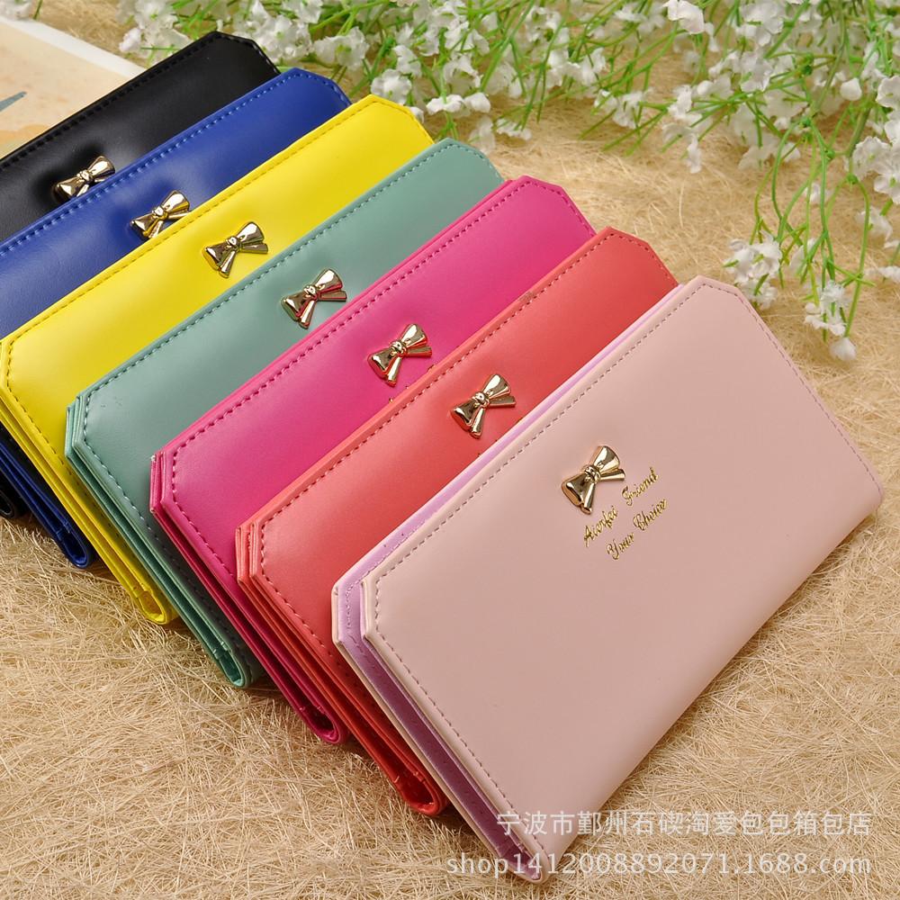 2015 New Korean Fashion Ladies Purse Long Slim Bow Card Bag Wallet(China (Mainland))