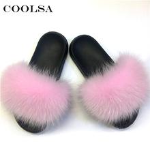 Coolsa ฤดูร้อนผู้หญิงฟ็อกซ์ขนรองเท้าแตะสุนัขจิ้งจอกจริงสไลด์หญิง Furry ในร่ม Flip Flops รองเท้าแตะชายห...(China)