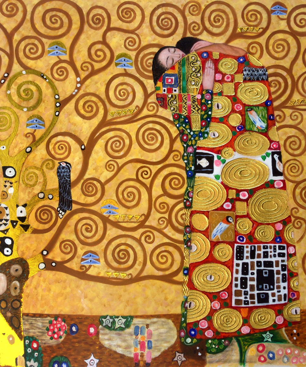 Handpainted Abstract Paintings for Bedroom Gustav Klimt Oil Painting Reproductions - Fulfillment (The Embrace), Vertical(China (Mainland))