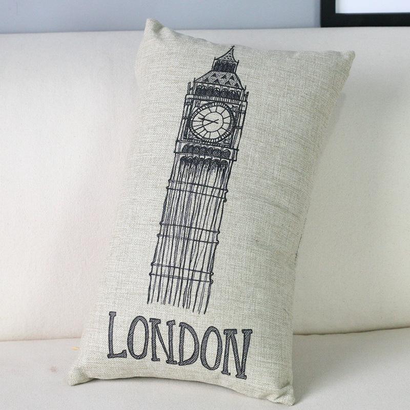 Europe Hand painted Tower LONDON Pillow Modern black white Pillow Cushion decorative pillows home decor sofa