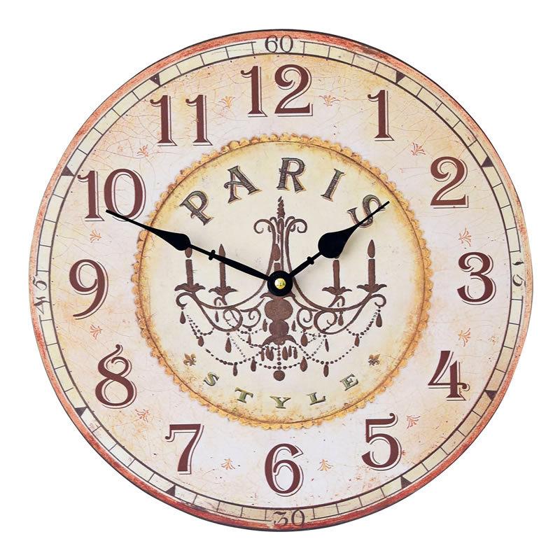 New Vintage Art Round Wood Wall Clock Retro Light PARIS Country Style Mute Rimless Digital Clocks for Livingroom Thicken Board(China (Mainland))
