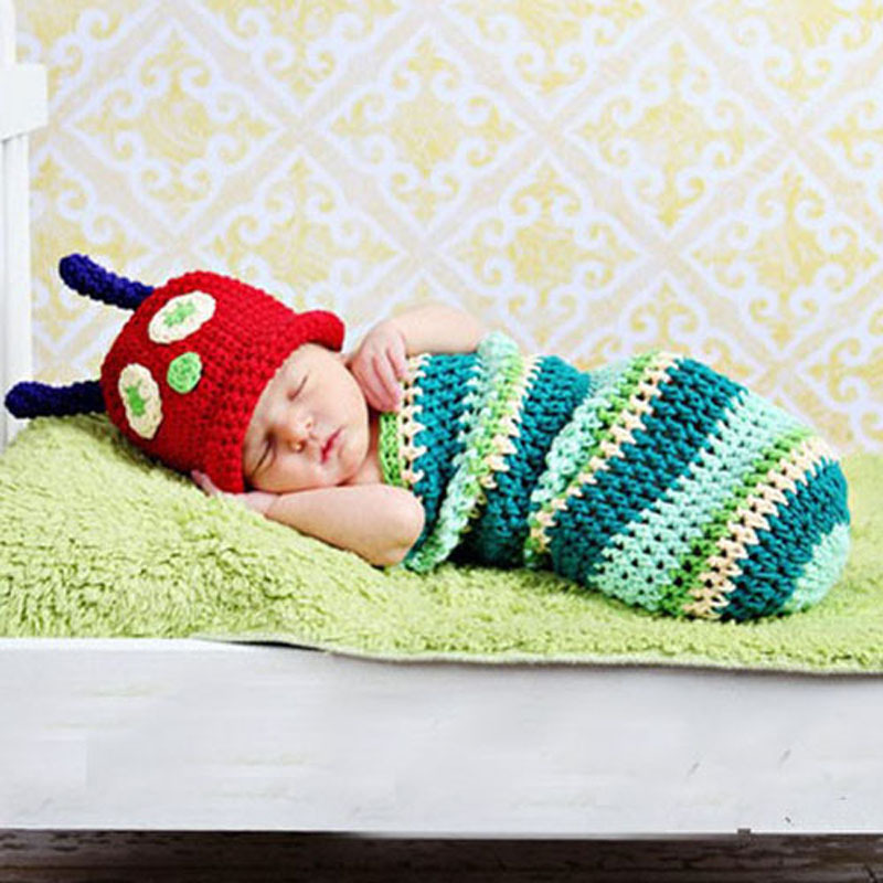 Handmade Crochet Beetle Cocoon Set with Red Hat Newborn Baby Sleeping Bag Animal Hat for Photo Props Shower Gift MH027(China (Mainland))
