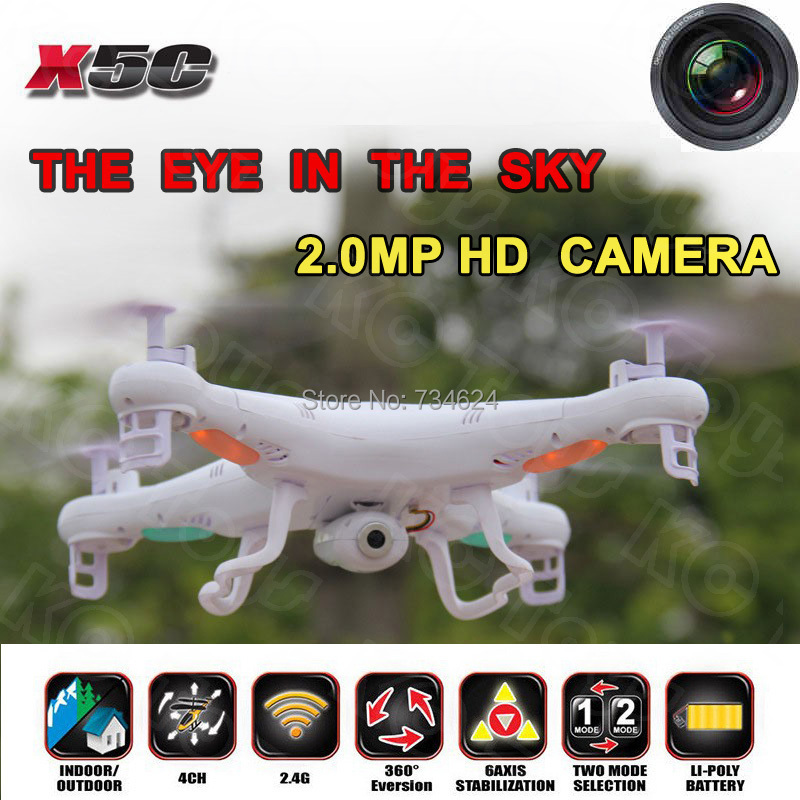 Free shipping Syma X5C Quadrocopter 2.4G 6 Axis GYRO HD Camera RC Quadcopter RTF Helicopter RC Drone with 2.0MP Camera(China (Mainland))