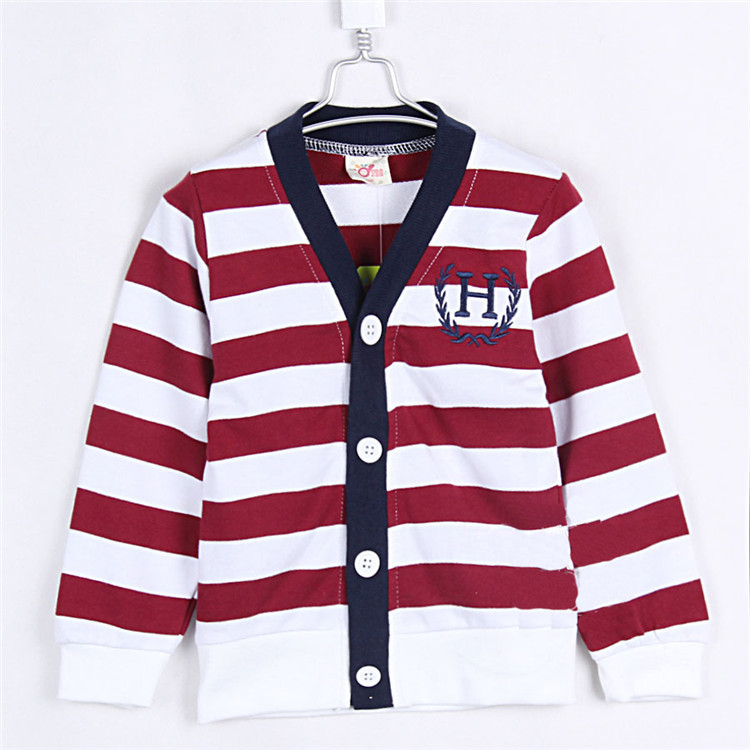 2015 spring and autumn stripe boys clothing girls clothing child cardigan top outerwear A0358(China (Mainland))