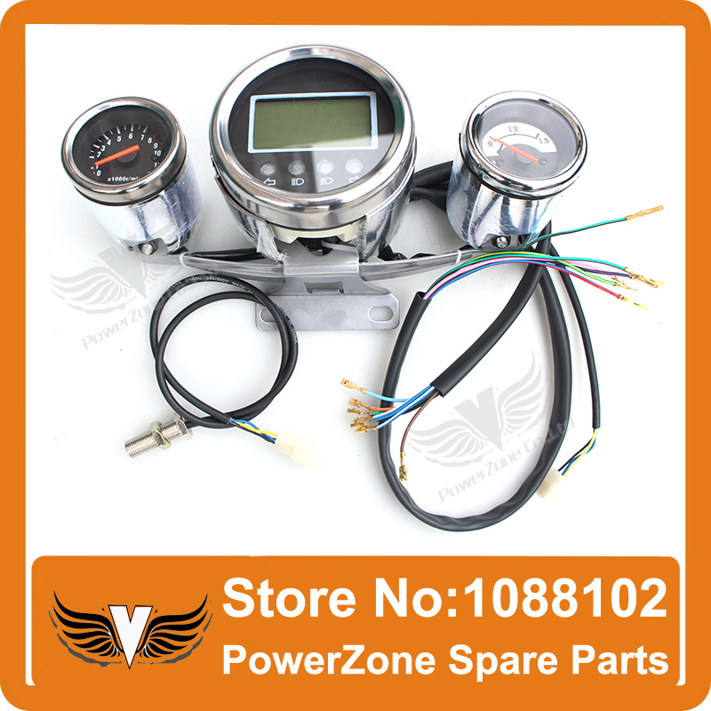 ATV Motorcycle LED Digital Speedometer WithTachometer graph and Battery Power Display  Odometer  Sensor Free Shipping