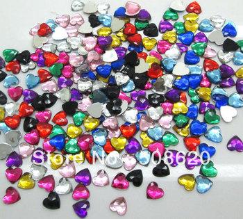 Wholesale Acrylic Mixed Heart Flatback Cabochon Scrapbook Crafts Home Decor 8mm Fit Phone Nail Diy 500Pcs/lot