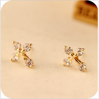 E188 Fashion 2015 Chic Shimmer Gold Bow Cubic Crystal Earrings Gold-Tone GP Cross Rhinestone Stud Earrings for Women<br><br>Aliexpress