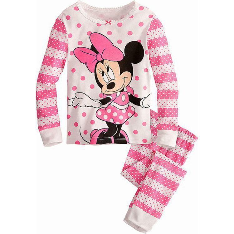 Children Clothing Sets Baby boy's pajamas suits Girls Clothing Sets sleepwear kitty/Minnie/dora pajamas cotton shirts+trousers(China (Mainland))