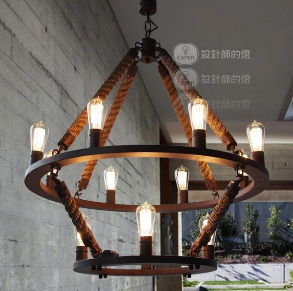 new industral loft 12 lights round chandelier vintage 2 iron ring hemp rope hanging pendant lamps free shipping(China (Mainland))