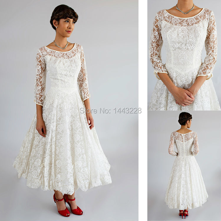 1950s style tea length wedding dresses