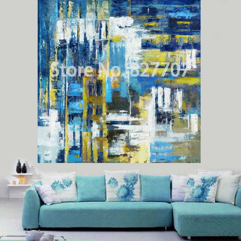Modern Abstract Hand Painted Blue Oil Painting On Printed Canvas Wall Art for Living Room Decor Picture(China (Mainland))
