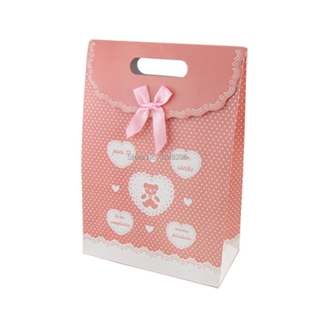Pink Heart Dot Pattern Valentine Gift Present Paper Bag Discount 50(China (Mainland))