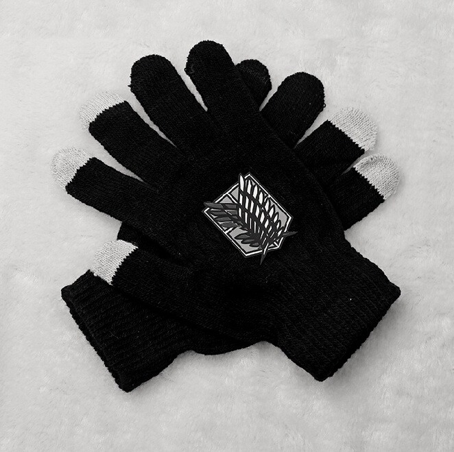 Fashion girls boys anime attack on titan shield printing touch screen gloves unisex winter warm guantes(China (Mainland))