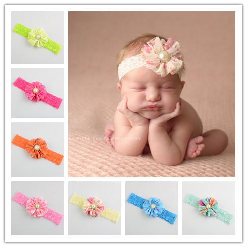 2015 New Children Lace Headband Handmade Jewelry With Pearl Diamond Baby Headdress 18 Colors In Europe(China (Mainland))
