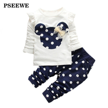 PSEEWE 2016 Kids Girls Clothing Sets Cartoon printed long sleeved suit Baby Kids Children clothing girls