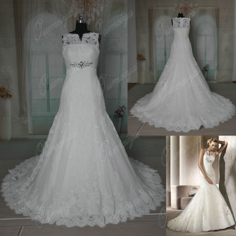Oumeiya ORW322 Real Sample Mermaid Bridal Gowns Dot Tulle French Lace Designer Wedding Dress 2016(China (Mainland))