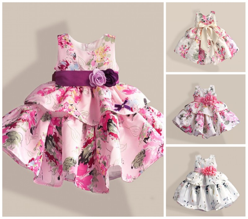 EMS DHL Free Shipping  Kids Elegant Sash Flower Floral Tiers Dress Party Dress Holiday Party Ball Dress For Princess<br><br>Aliexpress