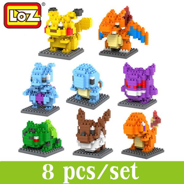 Pokemon Minifigure Sets LOZ Building Blocks Set Pikachu Action Figure Nanoblock Miniature Model Kits Train Bricks - Love me tender,love sweet store