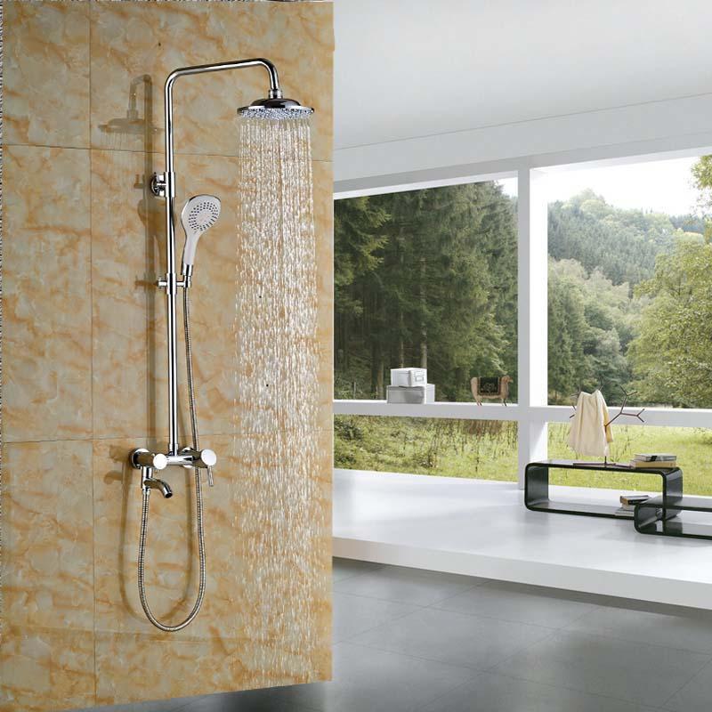 Wall Mount Chrome 8 Rainfall Shower Faucet Set Bathroom