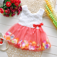 New 2015 summer style baby girls dress Flower color petal hem dress child Kids princess dress Free shipping
