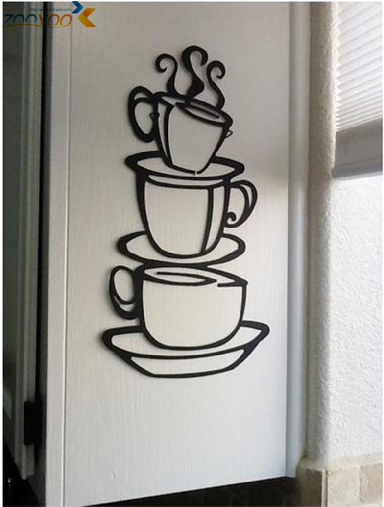 have a cup of coffee shop wall decals home decorations zooyoo8104 diy kitchen room rvinyl wall art diy decorative sticker(China (Mainland))