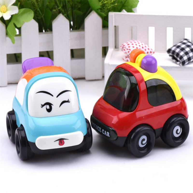 2016 New arrive Smile car Inertial cartoon car baby toys pull back car emulation small toy swing up and down random colors(China (Mainland))